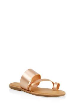 Cross Band Toe Ring Slide Sandals - ROSE - 1112004062473