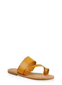 Cross Band Toe Ring Slide Sandals - 1112004062473