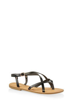 Strappy Faux Leather Thong Sandals - BLACK - 1112004062475