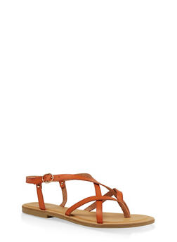 Strappy Faux Leather Thong Sandals - TAN - 1112004062475