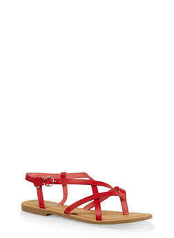 Strappy Faux Leather Thong Sandals - RED - 1112004062475