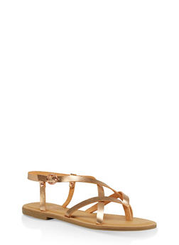 Strappy Faux Leather Thong Sandals - ROSE - 1112004062475