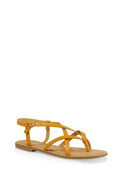 Strappy Faux Leather Thong Sandals - YELLOW - 1112004062475