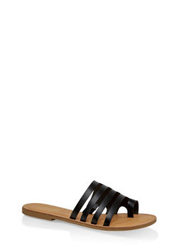 Multi Band Toe Ring Slide Sandals - BLACK - 1112004062476