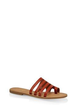 Multi Band Toe Ring Slide Sandals - TAN - 1112004062476