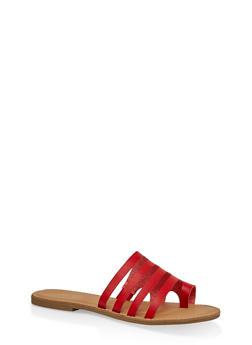 Multi Band Toe Ring Slide Sandals - RED - 1112004062476