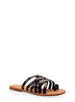 Toe Ring Multi Strap Slide Sandals - BLACK - 1112004062478