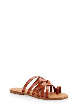 Toe Ring Multi Strap Slide Sandals - TAN - 1112004062478