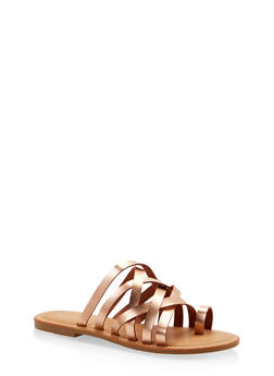 Toe Ring Multi Strap Slide Sandals - ROSE - 1112004062478