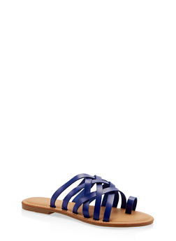 9f602aea96f5 Toe Ring Multi Strap Slide Sandals - BLUE - 1112004062478