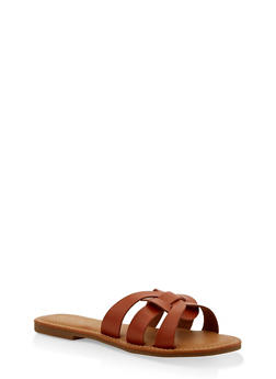 Multi Strap Faux Leather Slide Sandals - 1112004062479