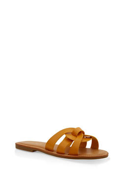 Multi Strap Faux Leather Slide Sandals - YELLOW - 1112004062479