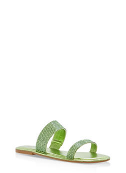 Double Band Rhinestone Slide Sandals - GREEN MWP - 1112004062532