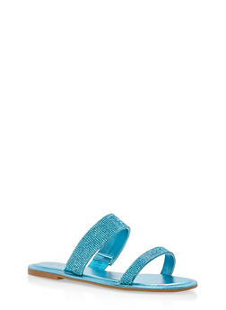 Double Band Rhinestone Slide Sandals - TURQUOISE MWP - 1112004062532