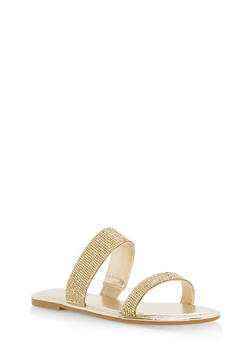 Double Band Rhinestone Slide Sandals - GOLD MWP - 1112004062532
