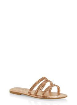Triple Rhinestone Strap Slide Sandals - ROSE GOLD - 1112004062540