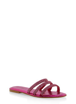 Triple Rhinestone Strap Slide Sandals - FUCHSIA - 1112004062540