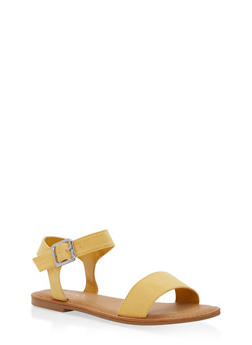 Ankle Strap Flat Sandals - YELLOW - 1112004062541