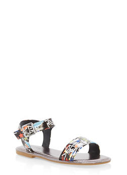 Ankle Strap Flat Sandals - BLACK MULTI - 1112004062541