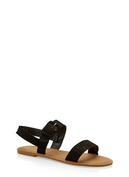 Two Band Slingback Sandals - BLACK SUEDE - 1112004062547