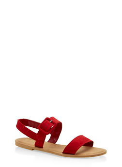 Two Band Slingback Sandals - RED S - 1112004062547