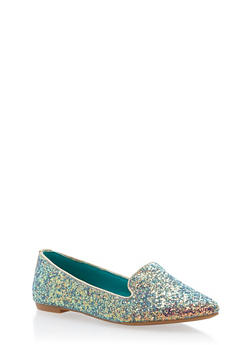 Pointed Toe Flats - BLUE GLITTER - 1112004062564