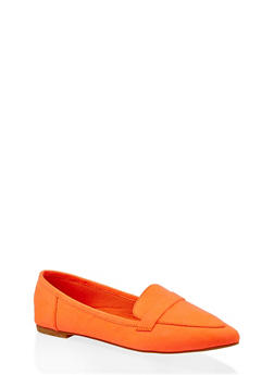 Pointed Toe Loafers - ORANGE - 1112004062566