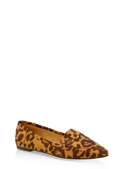 Pointed Toe Loafers - LEOPARD PRINT - 1112004062566