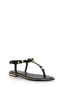 Studded Thong Sandals - BLACK PU - 1112004062593