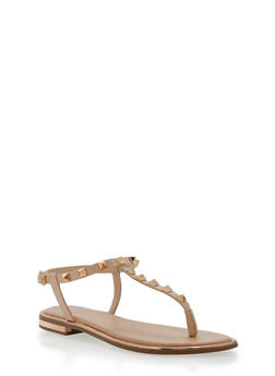Studded Thong Sandals - NUDE PU - 1112004062593