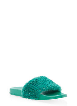 Foiled Faux Fur Slides - GREEN - 1112004062707
