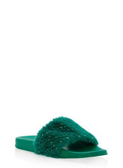 Foiled Faux Fur Slides - GREEN S - 1112004062707