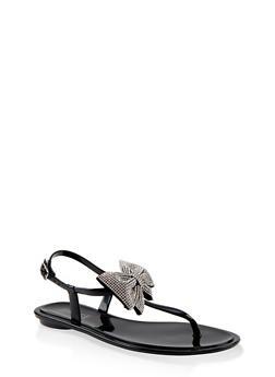 Rhinestone Bow Jelly Thong Sandals - BLACK - 1112004062799