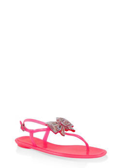 Rhinestone Bow Jelly Thong Sandals - NEON PINK - 1112004062799