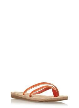 Beaded Cross Strap Thong Sandals - 1112004062841