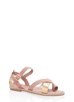 Strappy Toe Ring Sandals - BLUSH - 1112004063283
