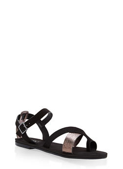 Strappy Toe Ring Sandals - BLACK MULTI - 1112004063283