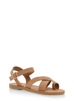 Criss Cross Ankle Strap Sandals - TAN - 1112004063284