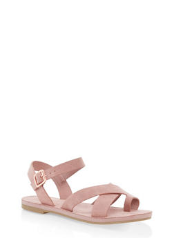 Criss Cross Ankle Strap Sandals - BLUSH - 1112004063284