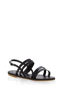 Strappy Faux Suede Sandals - BLACK - 1112004063285
