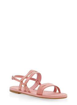 Strappy Faux Suede Sandals - MAUVE - 1112004063285