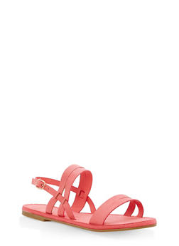 Strappy Faux Suede Sandals - 1112004063285