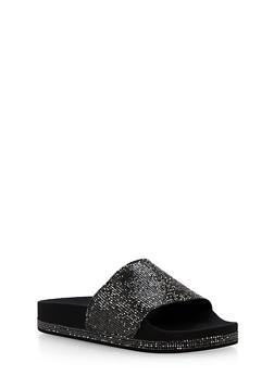 Rhinestone Slide Sandals - BLK - 1112004063299