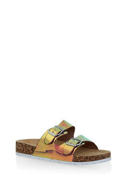 Iridescent Double Buckle Strap Slides - 1112004063335
