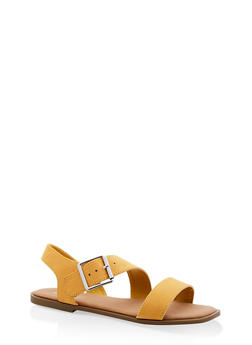 Buckle Strap Sandals - YELLOW - 1112004063354