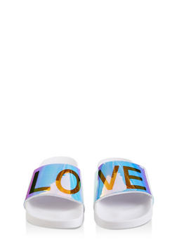 Iridescent Love Band Slides - WHITE - 1112004063535