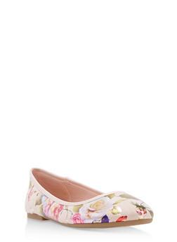 Round Toe Skimmer Flats - BLUSH FABRIC - 1112004063627