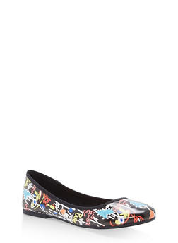 Rounded Toe Skimmer Flats - BLACK MULTI - 1112004063633