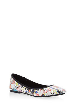Rounded Toe Skimmer Flats - WHITE MULTI - 1112004063633