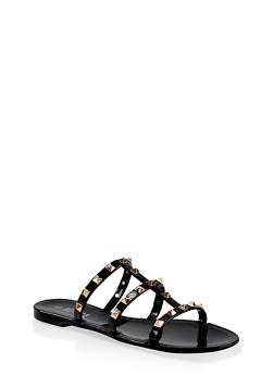 Studded Triple Band Slide Sandals - BLACK - 1112004063640